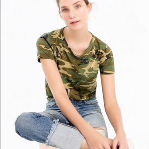 J. Crew Green Camo T-Shirt Size S Glitter Gold